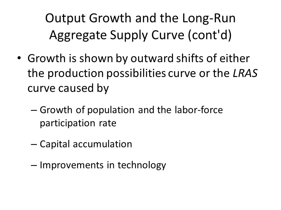 Long Run Aggregate Supply Price level Real domestic output, GDP Q P LRAS LR Long-run Aggregate Supply QfQf Full-Employment