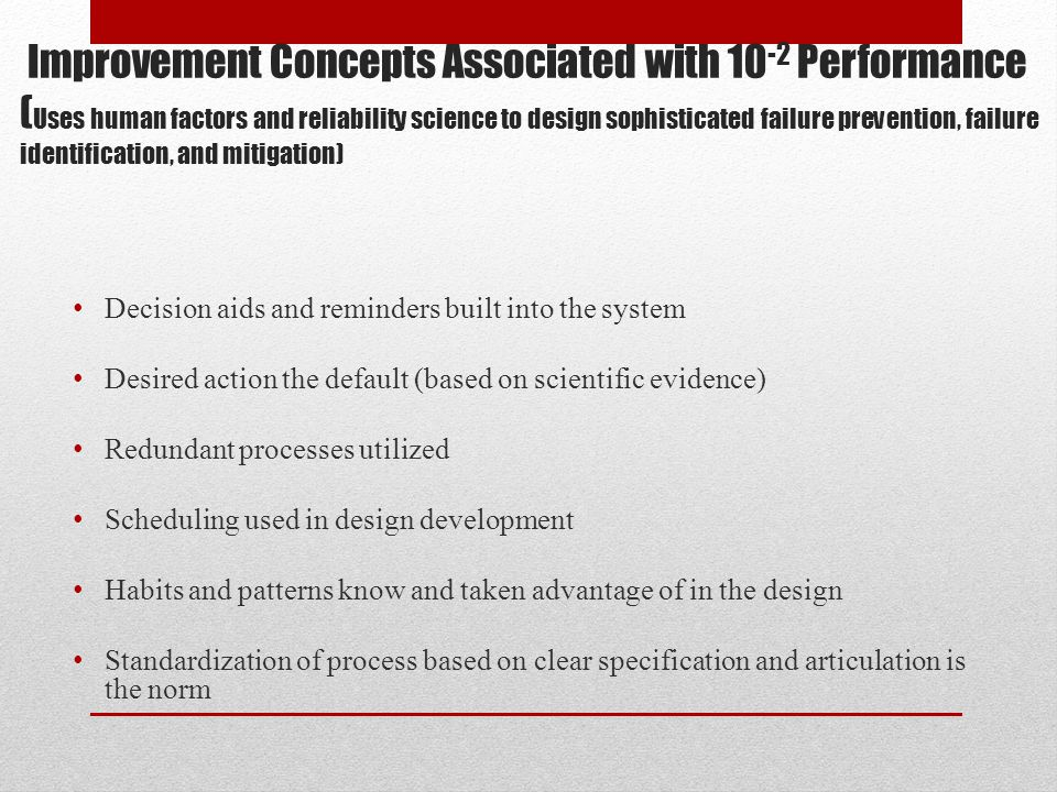 Improvement Concepts Associated with 10 -2 Performance ( Uses human factors and reliability science to design sophisticated failure prevention, failur