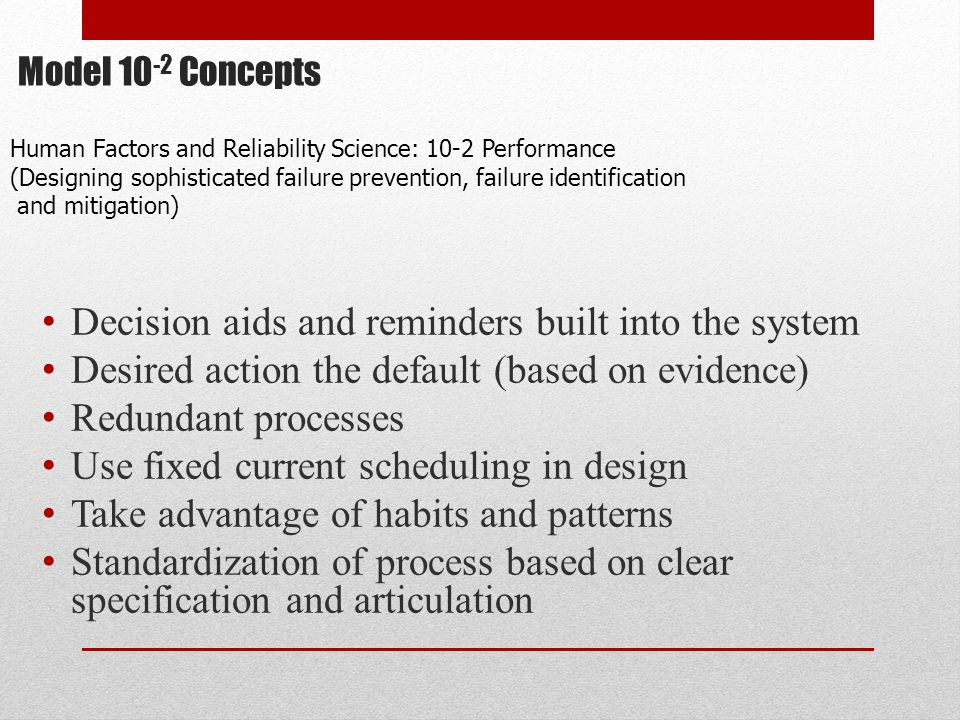 Model 10 -2 Concepts Decision aids and reminders built into the system Desired action the default (based on evidence) Redundant processes Use fixed cu