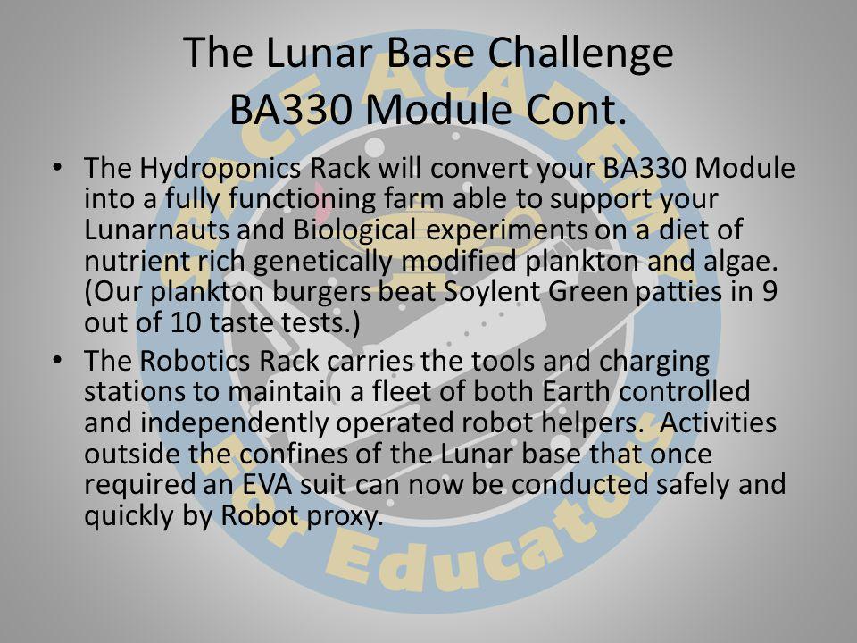 The Lunar Base Challenge BA330 Module Cont.