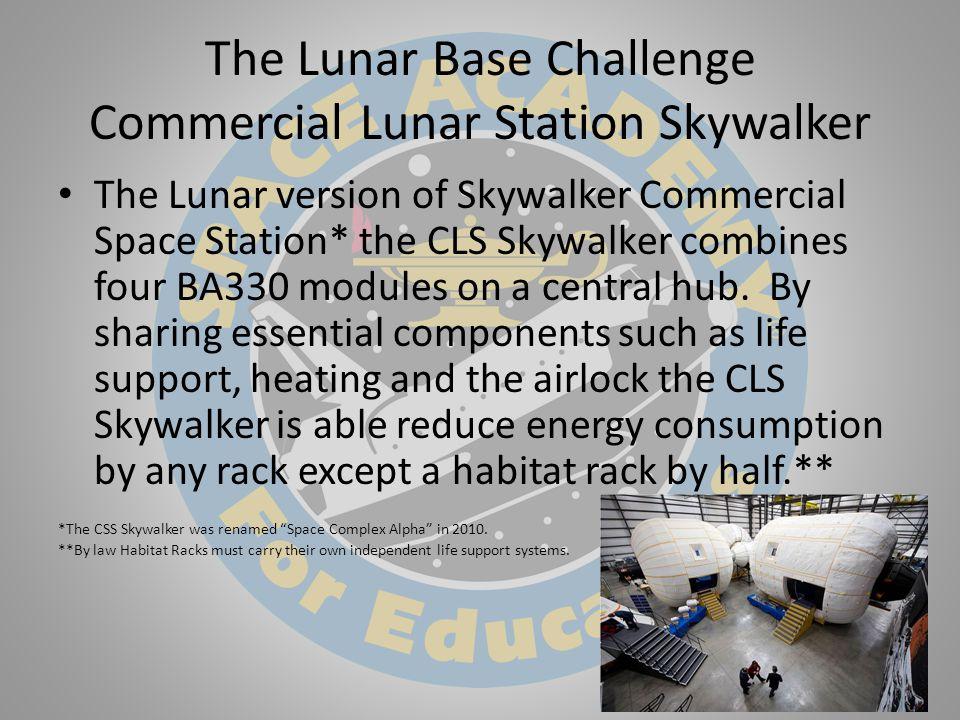 The Lunar Base Challenge Commercial Lunar Station Skywalker The Lunar version of Skywalker Commercial Space Station* the CLS Skywalker combines four BA330 modules on a central hub.