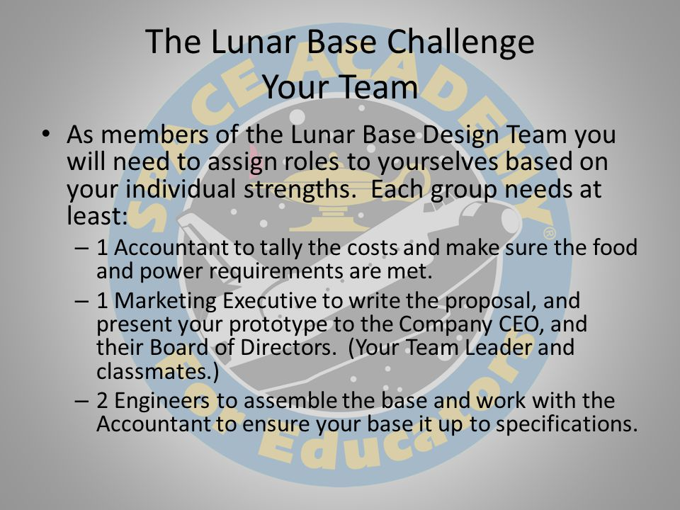 The Lunar Base Challenge Your Team As members of the Lunar Base Design Team you will need to assign roles to yourselves based on your individual strengths.