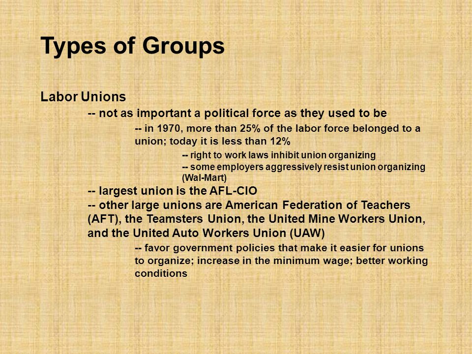 Types of Groups Business Groups -- the most numerous and most potent of America's interest groups -- concerned with labor laws, tax laws, interest rates, environmental regulation, trade policies, and government contracts -- oil companies favor off-shore drilling but worry about environmental regulations -- banks are concerned with financial regulatory reform -- Chamber of Commerce -- National Federation of Independent Business (NFIB) Professional Associations -- doctors, lawyers, realtors and other professionals form associations to advance their interests -- AMA is concerned with limiting the amount of money that a judge can award in medical malpractice law suits; ABA is opposed to this
