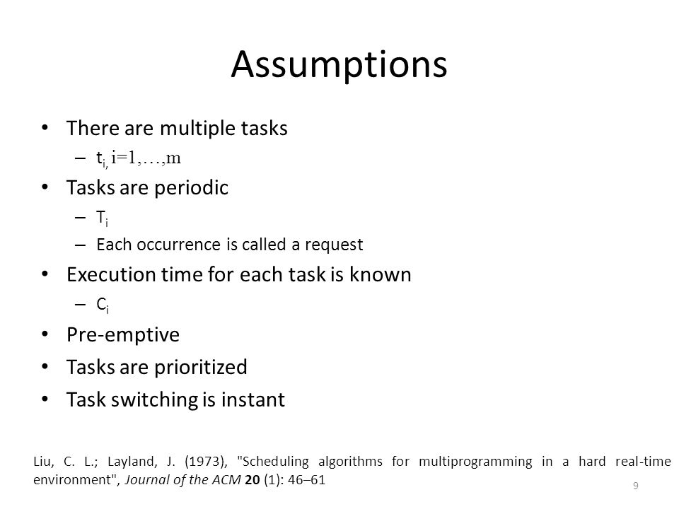 Assumptions There are multiple tasks – t i, i=1,…,m Tasks are periodic – T i – Each occurrence is called a request Execution time for each task is kno