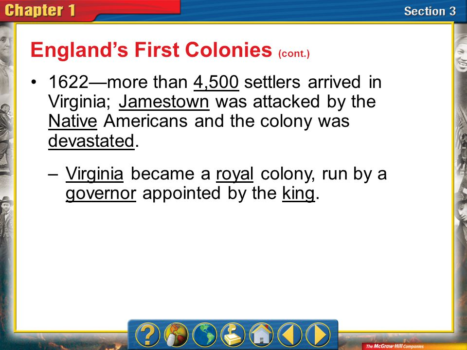 Section 3 George Calvert—or Lord Baltimore— founded a colony in Maryland for Catholics who were persecuted in England.