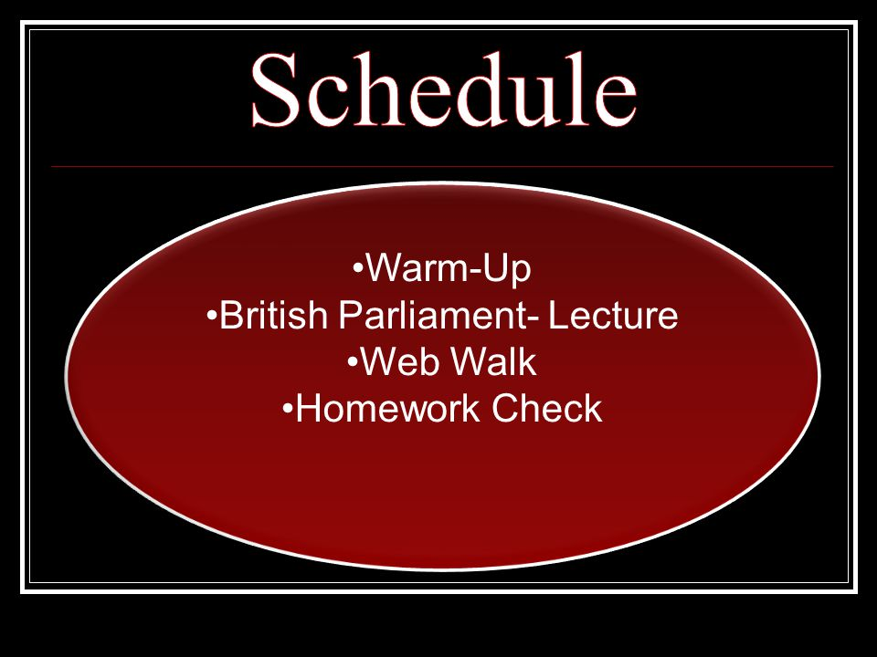 Warm-Up British Parliament- Lecture Web Walk Homework Check Warm-Up British Parliament- Lecture Web Walk Homework Check