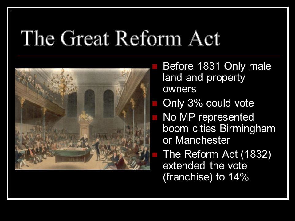 Before 1831 Only male land and property owners Only 3% could vote No MP represented boom cities Birmingham or Manchester The Reform Act (1832) extended the vote (franchise) to 14%