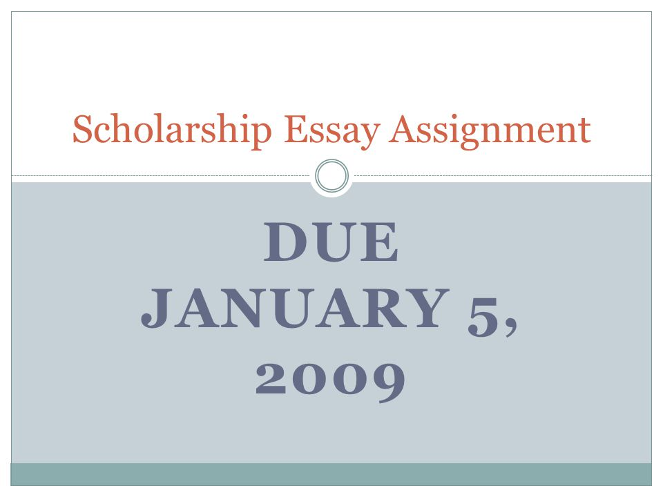 DUE JANUARY 5, 2009 Scholarship Essay Assignment