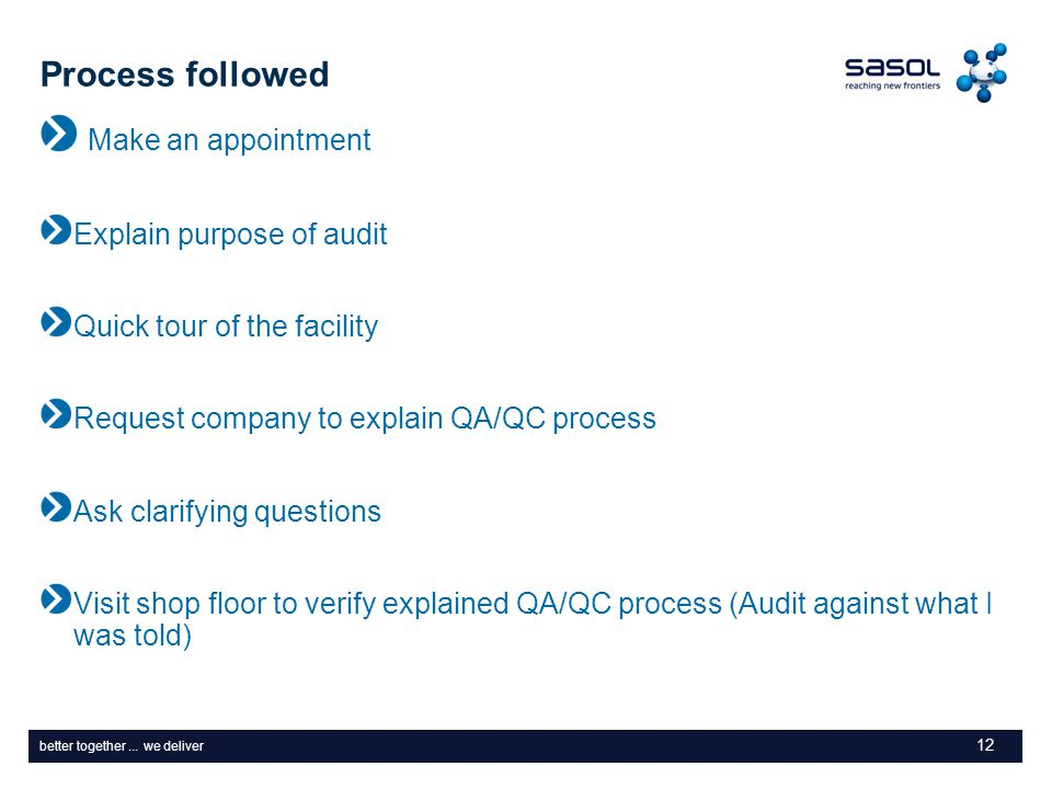 better together... we deliver Process followed Make an appointment Explain purpose of audit Quick tour of the facility Request company to explain QA/Q