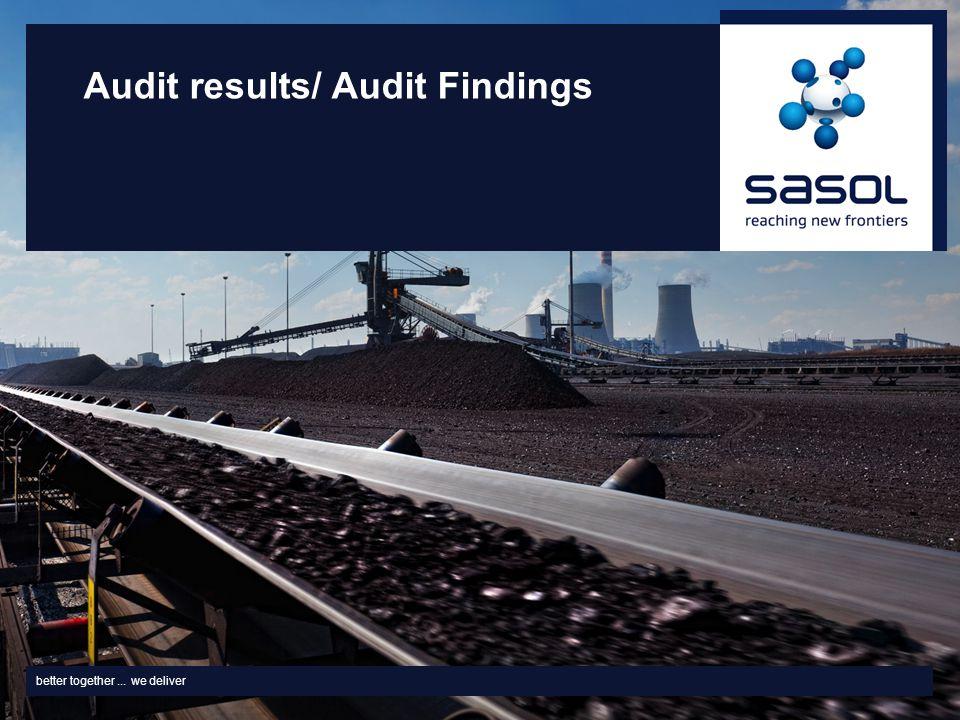 better together... we deliver Audit results/ Audit Findings