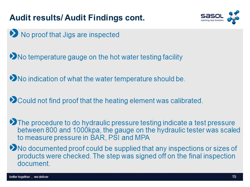 better together... we deliver Audit results/ Audit Findings cont. No proof that Jigs are inspected No temperature gauge on the hot water testing facil