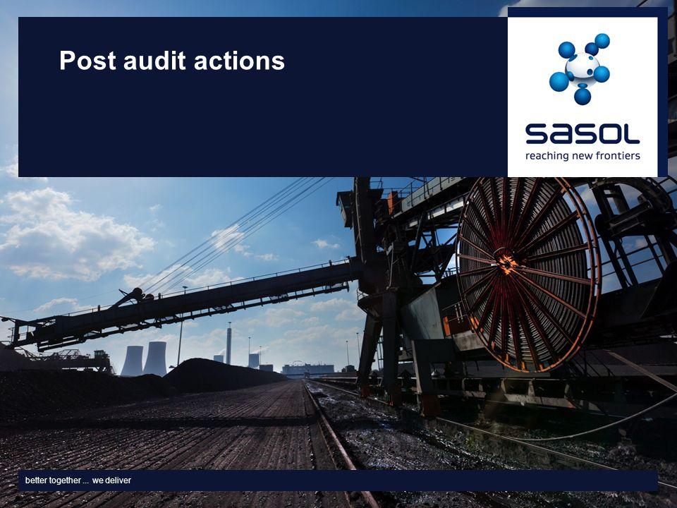 better together... we deliver Post audit actions