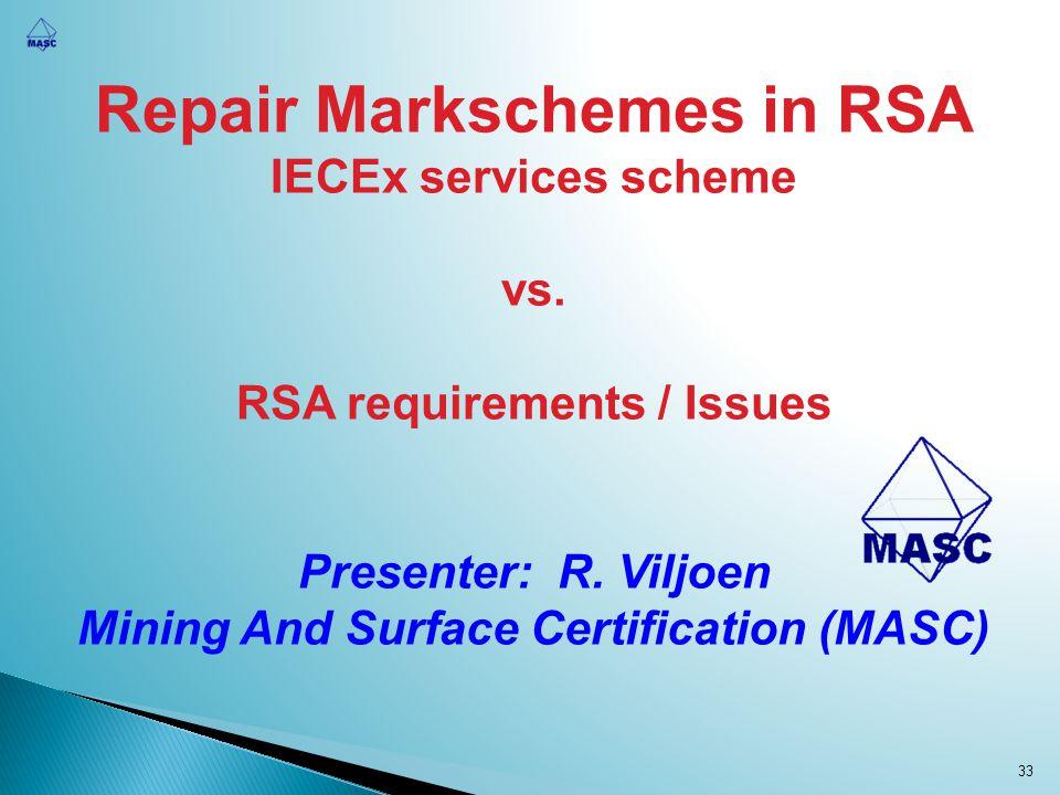 Repair Markschemes in RSA IECEx services scheme vs. RSA requirements / Issues Presenter: R. Viljoen Mining And Surface Certification (MASC) 33