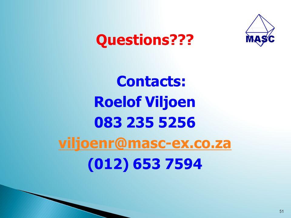 Questions??? Contacts: Roelof Viljoen 083 235 5256 viljoenr@masc-ex.co.za (012) 653 7594 51