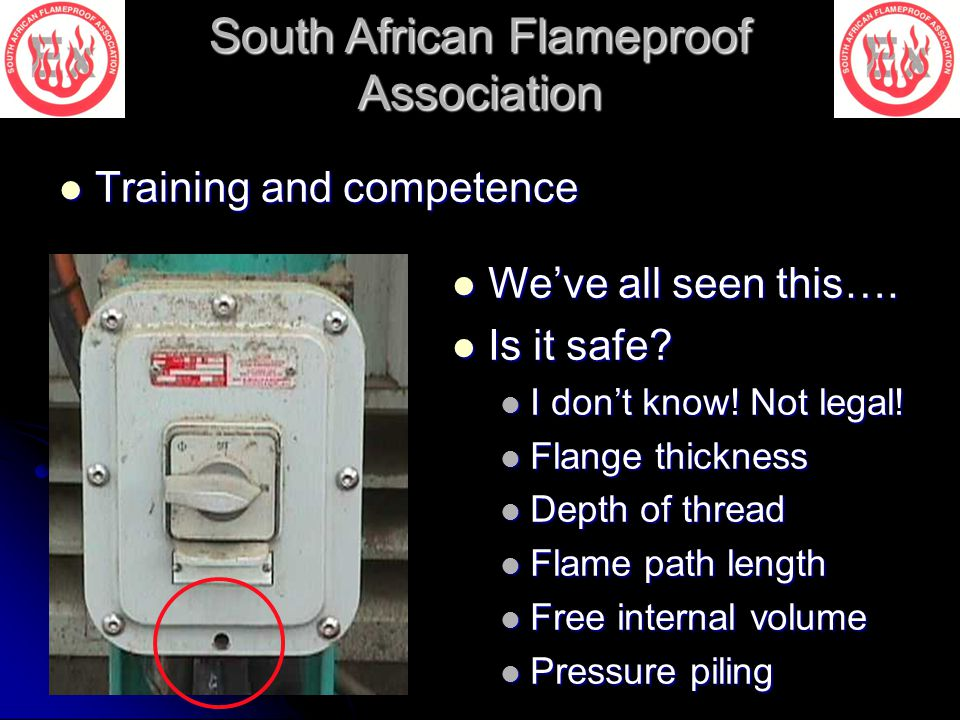 South African Flameproof Association Training and competence Training and competence We've all seen this…. We've all seen this…. Is it safe? Is it saf