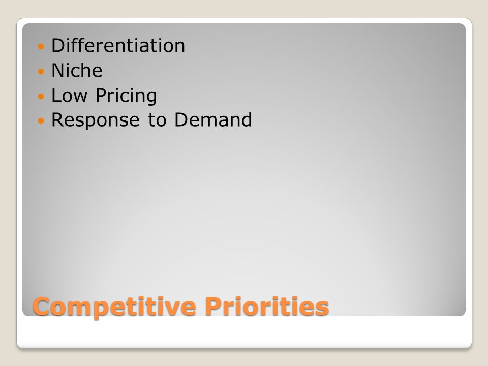 Competitive Priorities Differentiation Niche Low Pricing Response to Demand