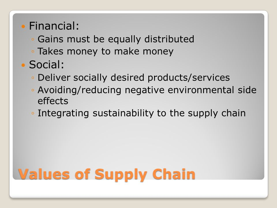 Values of Supply Chain Financial: ◦Gains must be equally distributed ◦Takes money to make money Social: ◦Deliver socially desired products/services ◦Avoiding/reducing negative environmental side effects ◦Integrating sustainability to the supply chain