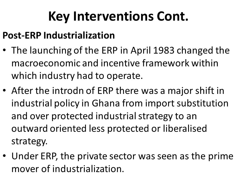 Key Interventions Cont.