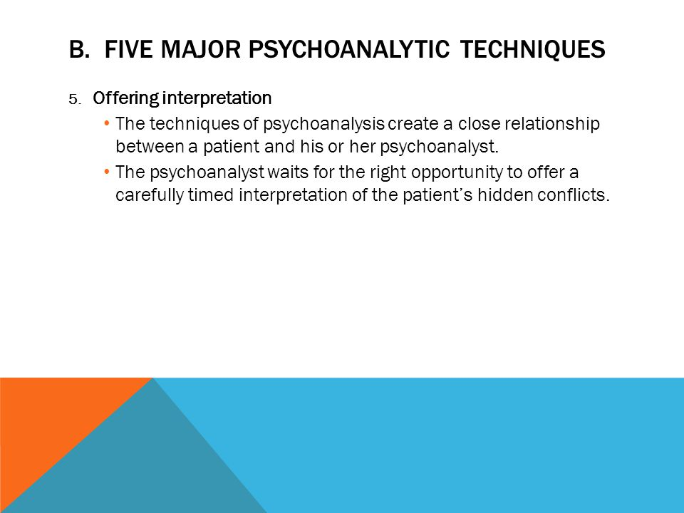 B. FIVE MAJOR PSYCHOANALYTIC TECHNIQUES 5. Offering interpretation The techniques of psychoanalysis create a close relationship between a patient and