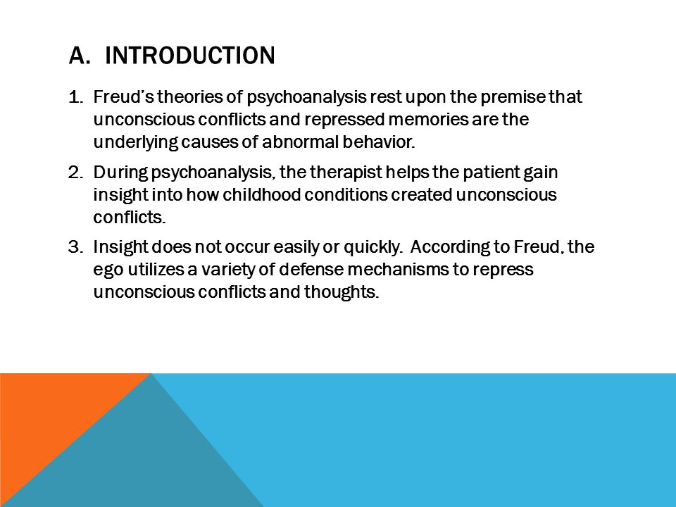 A. INTRODUCTION 1.Freud's theories of psychoanalysis rest upon the premise that unconscious conflicts and repressed memories are the underlying causes