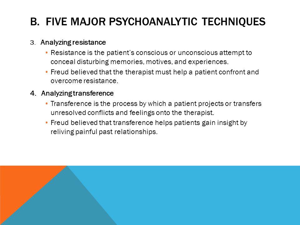 B. FIVE MAJOR PSYCHOANALYTIC TECHNIQUES 3. Analyzing resistance Resistance is the patient's conscious or unconscious attempt to conceal disturbing mem