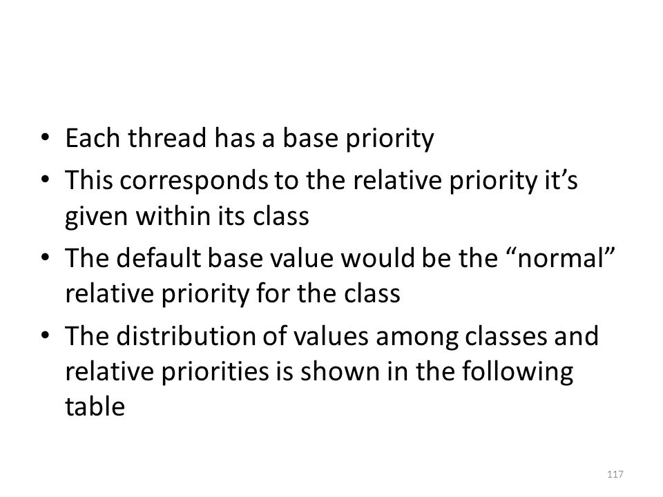 "Each thread has a base priority This corresponds to the relative priority it's given within its class The default base value would be the ""normal"" rel"