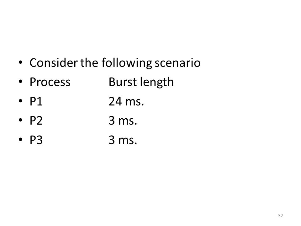 Consider the following scenario ProcessBurst length P124 ms. P23 ms. P33 ms. 32