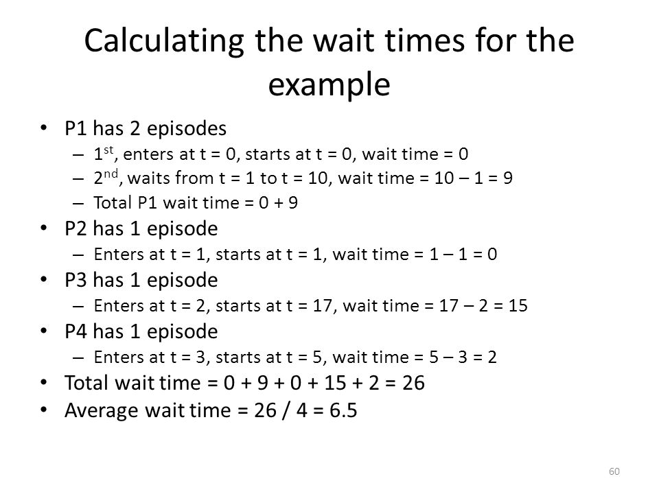 Calculating the wait times for the example P1 has 2 episodes – 1 st, enters at t = 0, starts at t = 0, wait time = 0 – 2 nd, waits from t = 1 to t = 1