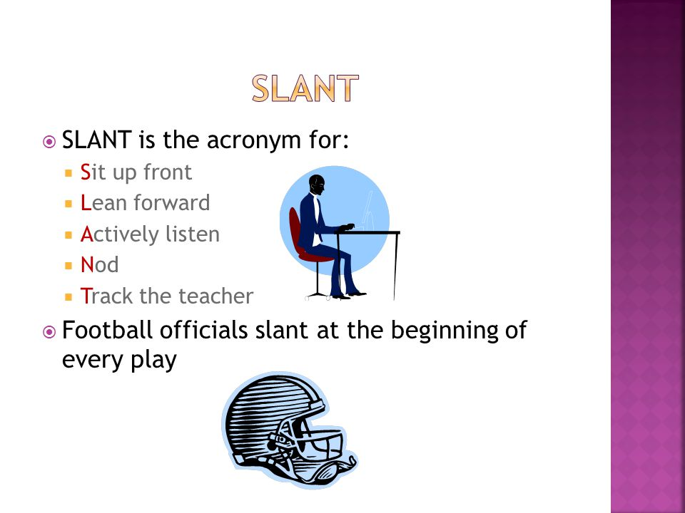 SSLANT is the acronym for: SSit up front LLean forward AActively listen NNod TTrack the teacher FFootball officials slant at the beginni
