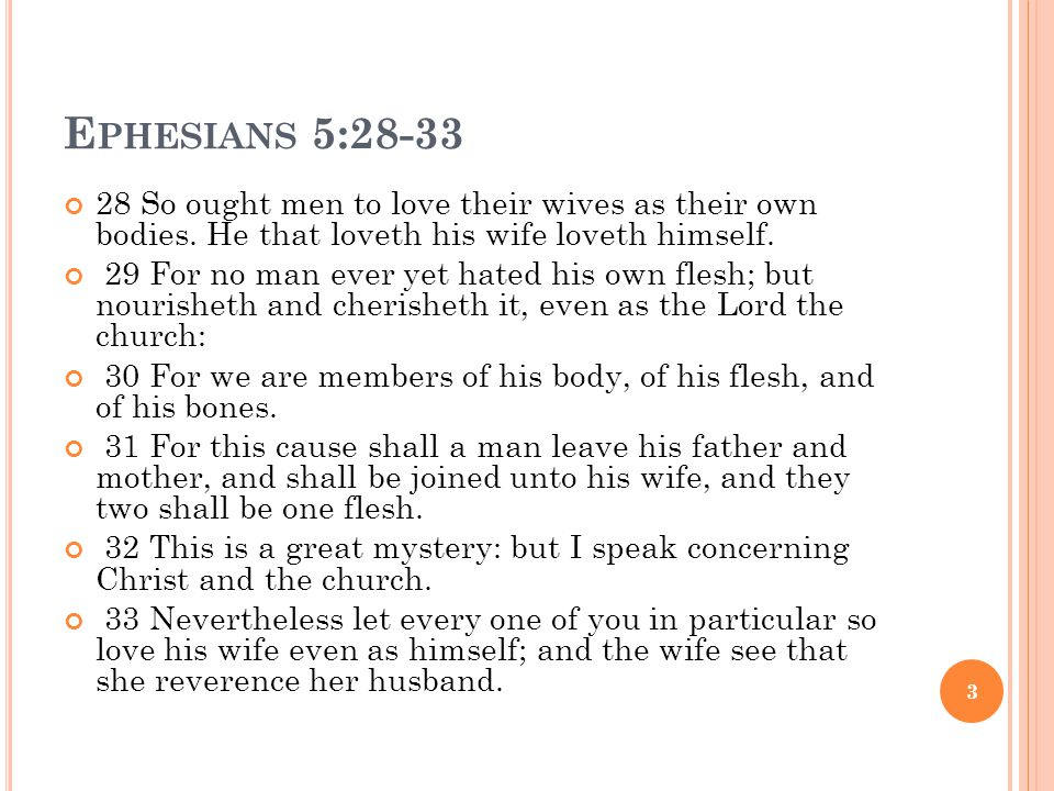 E PHESIANS 5:28-33 28 So ought men to love their wives as their own bodies. He that loveth his wife loveth himself. 29 For no man ever yet hated his o