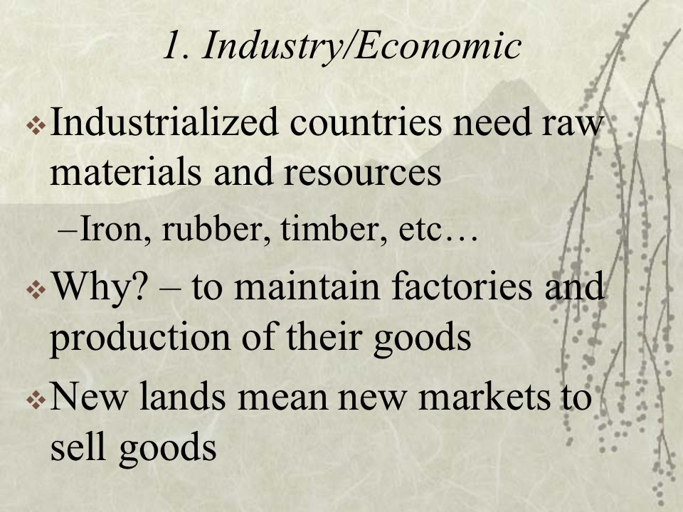 1. Industry/Economic  Industrialized countries need raw materials and resources –Iron, rubber, timber, etc…  Why? – to maintain factories and produc