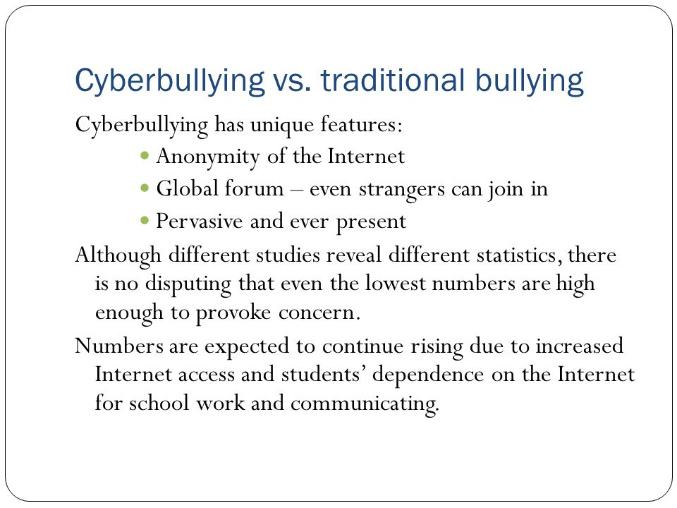 Problems associated with putting schools at the forefront Legislatively mandated policies can potentially conflict with free speech guarantees Schools are already strained without becoming the primary enforcers of cyberbullying legislation