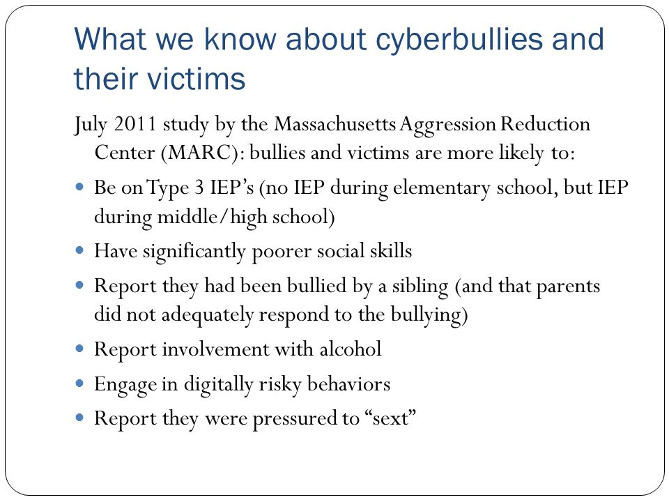 Summary Schools are well positioned to have the greatest impact on curbing cyberbullying Legal approaches and remedies will continue to evolve – preventative approaches (like those suggested in the Prevention of School Bullying Task Force Report) will be most effective, although the deterrent effect of an effective form of legal redress, should one be developed, will not be overlooked.