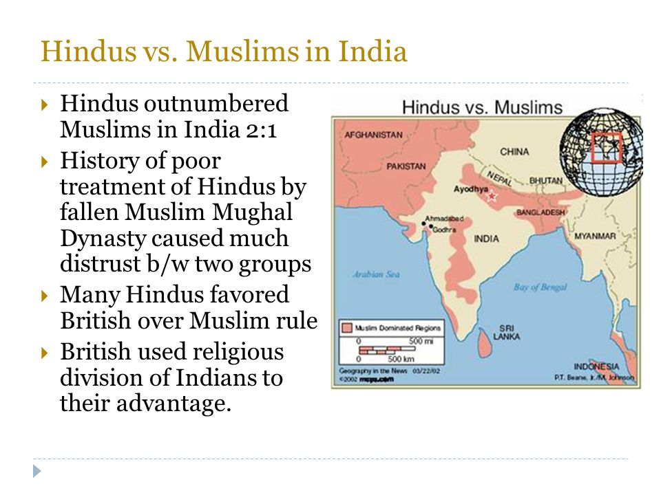 Hindus vs. Muslims in India  Hindus outnumbered Muslims in India 2:1  History of poor treatment of Hindus by fallen Muslim Mughal Dynasty caused muc