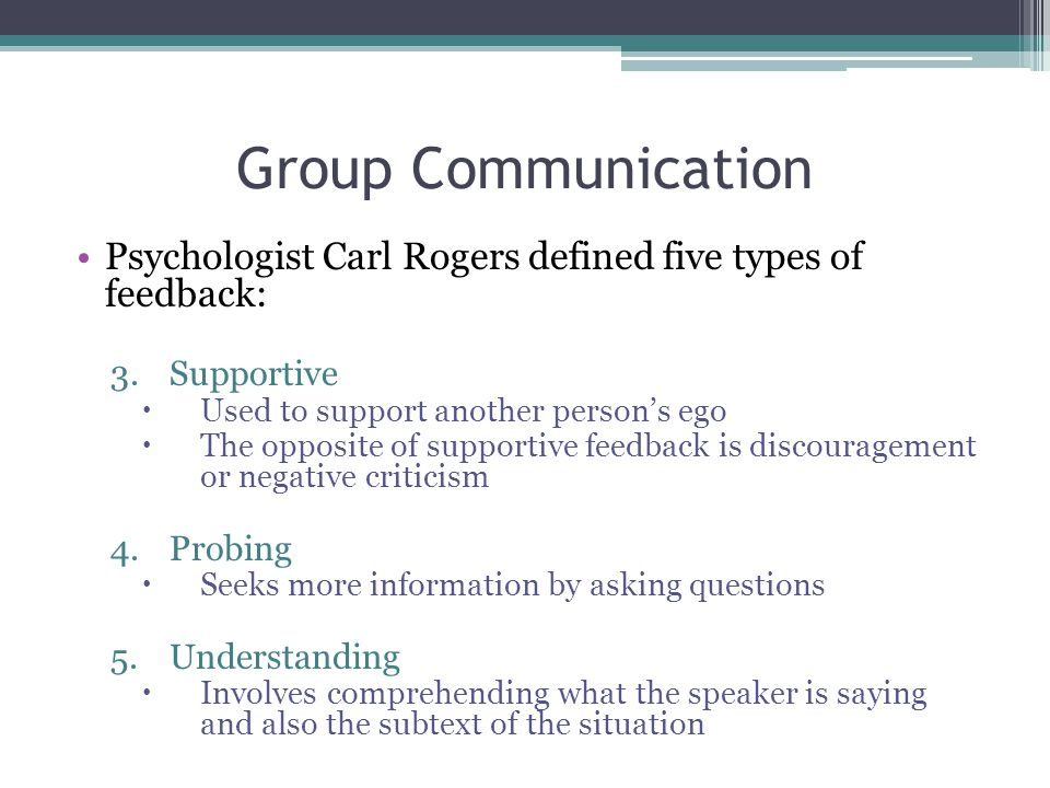 Group Communication Psychologist Carl Rogers defined five types of feedback: 3.Supportive  Used to support another person's ego  The opposite of supportive feedback is discouragement or negative criticism 4.Probing  Seeks more information by asking questions 5.Understanding  Involves comprehending what the speaker is saying and also the subtext of the situation