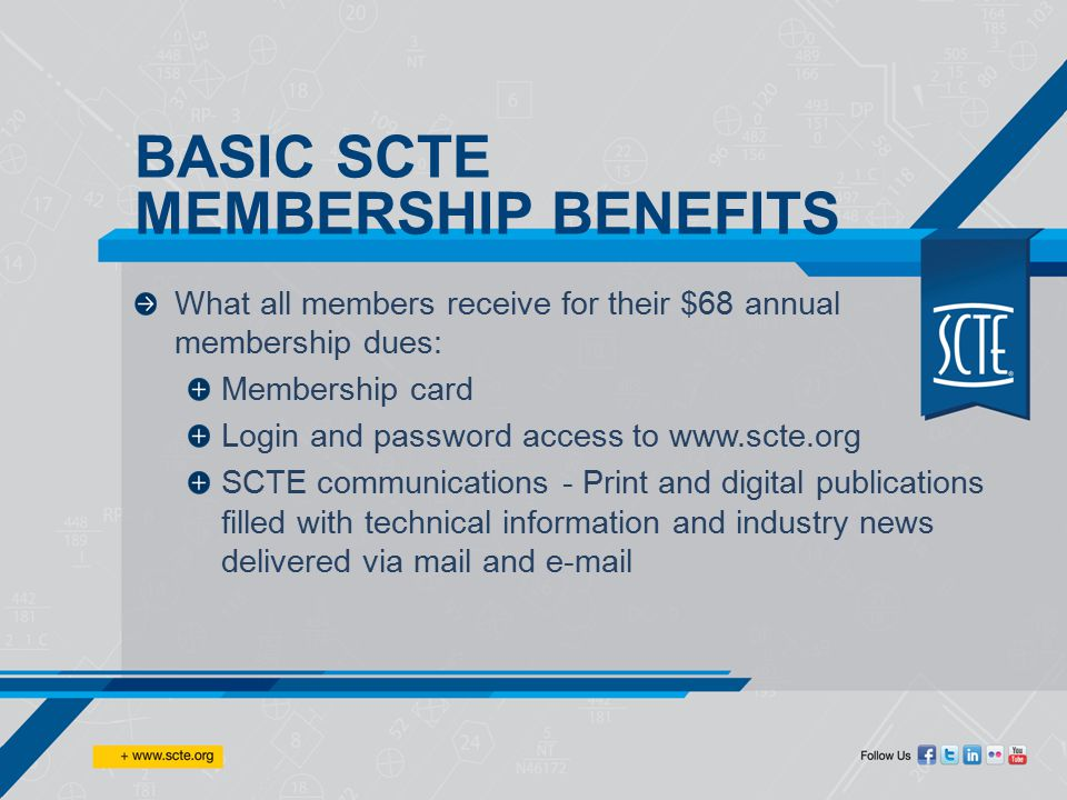 What all ACTIVE members receive for their dues: Technical tools and resources that save time and energy in their everyday job Access to events, advanced technology, standards, SCTE certification, forums and technical pros that can answer troubleshooting questions Online training courses and free webinars on cable topics such as Ethernet, IPv6, DOCSIS, Digital Video, Network Routing, Business Services, and more… ACTIVATED SCTE MEMBERSHIP BENEFITS