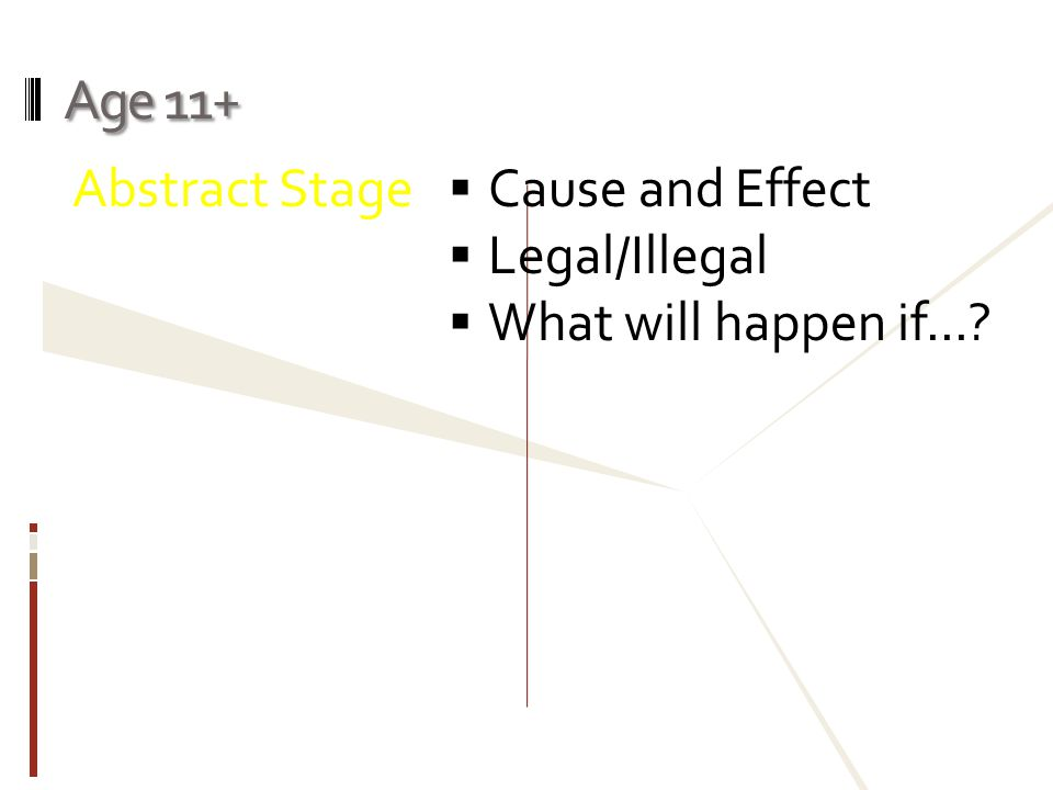 Age 11+ Abstract Stage  Cause and Effect  Legal/Illegal  What will happen if...?