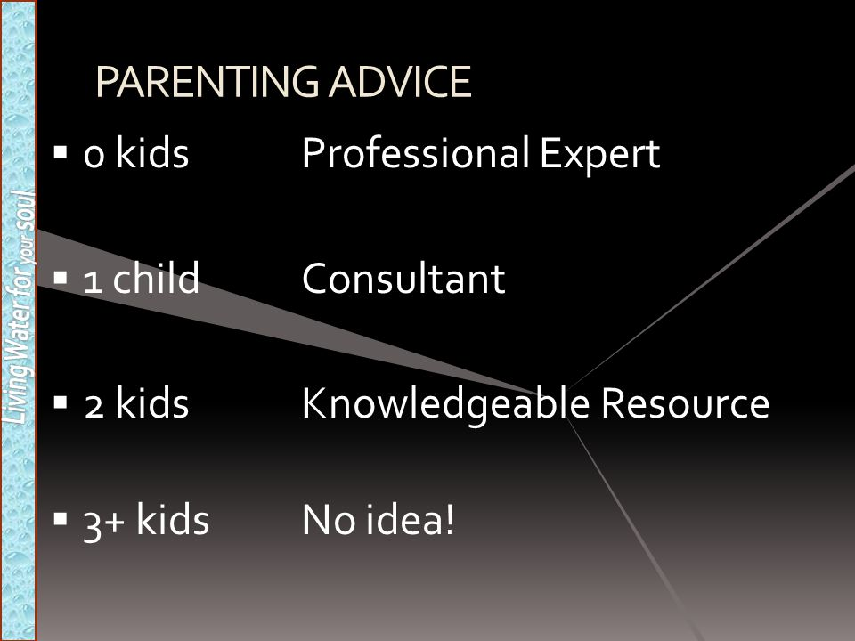 PARENTING ADVICE  0 kidsProfessional Expert  1 childConsultant  2 kidsKnowledgeable Resource  3+ kidsNo idea!