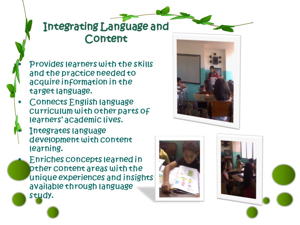 Provides learners with the skills and the practice needed to acquire information in the target language. Connects English language curriculum with oth