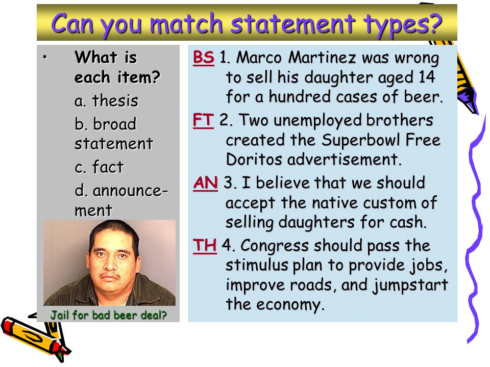 Can you match statement types. What is each item What is each item.