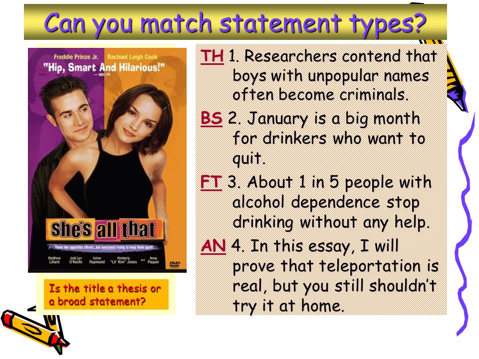 Can you match statement types. TH 1.