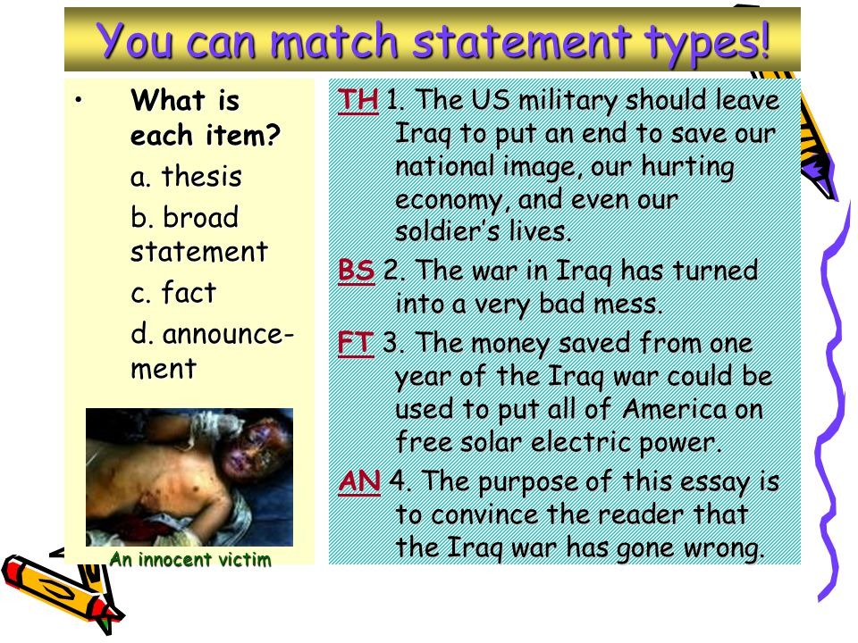 You can match statement types. What is each item What is each item.