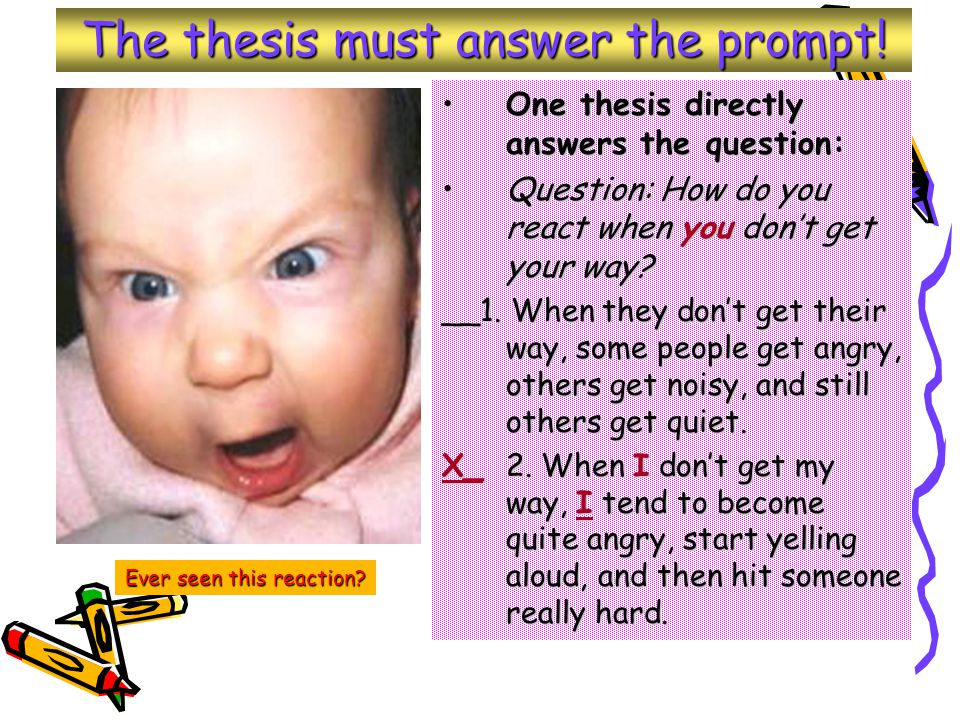 The thesis must answer the prompt.