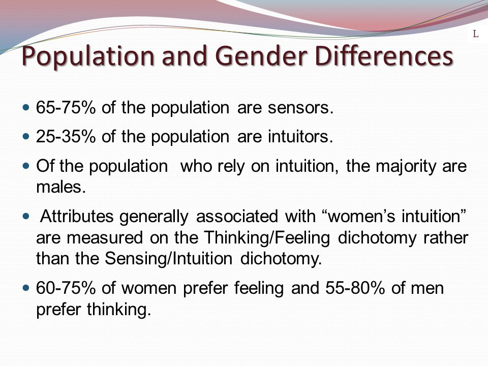 Population and Gender Differences 65-75% of the population are sensors. 25-35% of the population are intuitors. Of the population who rely on intuitio