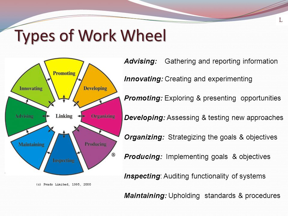 Types of Work Wheel (c) Prado Limited, 1995, 2000 Advising: Gathering and reporting information Innovating: Creating and experimenting Promoting: Exploring & presenting opportunities Developing: Assessing & testing new approaches Organizing: Strategizing the goals & objectives Producing: Implementing goals & objectives Inspecting: Auditing functionality of systems Maintaining: Upholding standards & procedures L