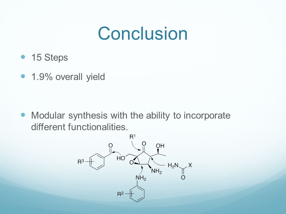Conclusion 15 Steps 1.9% overall yield Modular synthesis with the ability to incorporate different functionalities.