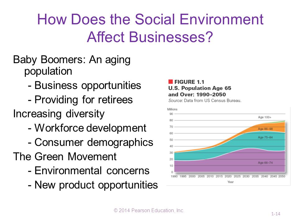 How Does the Social Environment Affect Businesses? Baby Boomers: An aging population - Business opportunities - Providing for retirees Increasing dive