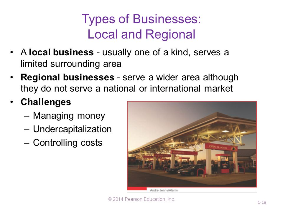 Types of Businesses: Local and Regional A local business - usually one of a kind, serves a limited surrounding area Regional businesses - serve a wide
