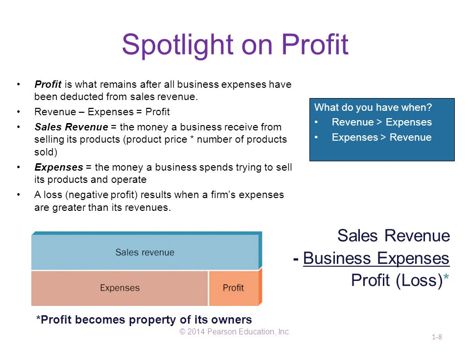 Spotlight on Profit © 2014 Pearson Education, Inc. 1-8 Sales Revenue - Business Expenses Profit (Loss)* *Profit becomes property of its owners What do