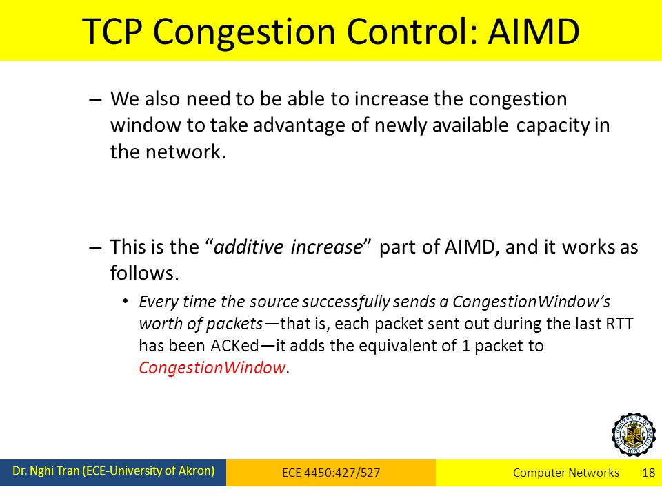 TCP Congestion Control: AIMD Dr. Nghi Tran (ECE-University of Akron) ECE 4450:427/527Computer Networks 18 – We also need to be able to increase the co